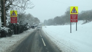 Wrexham road near Pontblyddyn covered in snow