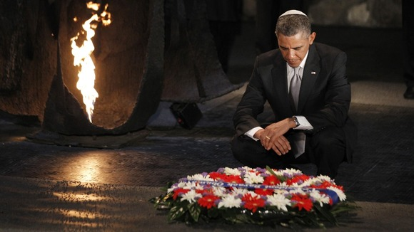 President Barack Obama lays a wreath at the Hall of Remembrance during his visit to the Yad Vashem Holocaust Memorial in Jerusalem