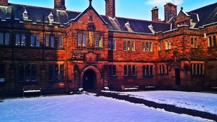 Gladstone's Library in Flintshire, Wales in the snow