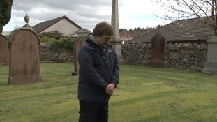 William Murdoch's great nephew lays flowers at his grave