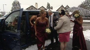 Bridesmaids arriving for the wedding