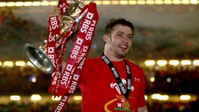 Leigh Halfpenny lifting the Six Nations' trophy