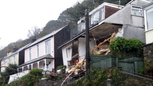 The collapsed 'Veronica' flats in Looe, Cornwall, where a body has now been found.