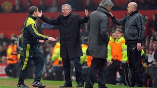 Sir Alex Ferguson protesting