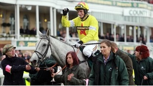 Daryl Jacob celebrates on Neptune Collonges