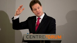 Deputy Prime Minister Nick Clegg speaking earlier today.