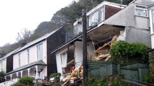 The property in Looe, Cornwall partially collapsed after a landslip.