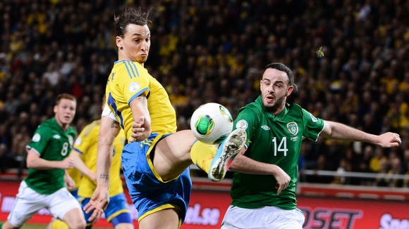 Sweden's Zlatan Ibrahimovic and Republic of Ireland's Marc Wilson in Stockholm
