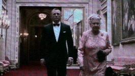 The Queen plays in a video with actor Daniel Craig as James Bond during the London Olympic Games 2012 Opening Ceremon