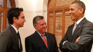 Barack Obama chats with Jordan's King Abdullah and his son Crown Prince Hussein