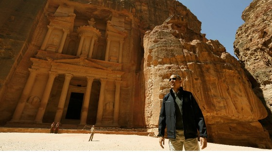 President Obama stops to look at the Treasury in Petra