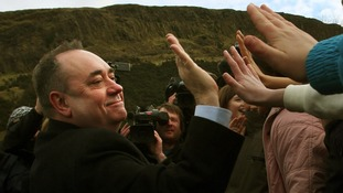 Salmond meets well-wishers outside Scotlands Parliament on Thursday.