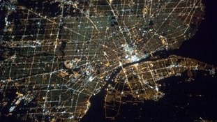 The picture shows Detroit and Windsor, where Michigan meets Ontario.