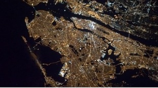 The view of New York City from the International Space Station.