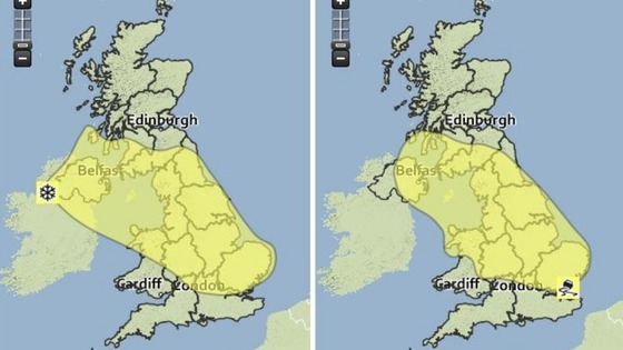 The Met Office weather warnings maps for today (left) and Sunday (right).