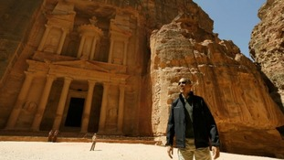 President Barack Obama stops to gaze at the Treasury in Petra.
