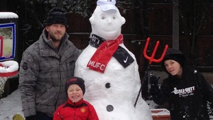Darren Mills and sons Taylor and Liam made their own 'Wayne Rooney' out of snow.