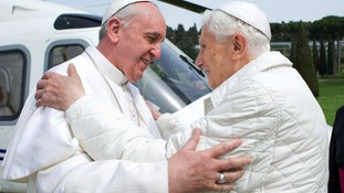 Pope Francis tells Benedict 'we are brothers'