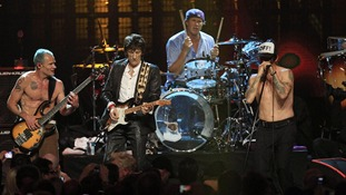 "Mike ""Flea"" Balazary, Ronnie Wood, Chad Smith and Anthony Kiedis perform in the finale to the 2012 Rock and Roll Hall of Fame inductions."