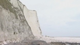 A distant image of the famous White Cliffs of Dover.