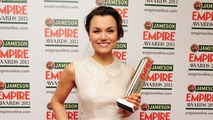 Samantha Barks with her award.