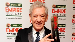 Sir Ian Mckellen with the Best Science Fiction Fantasy award.