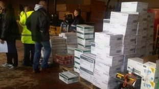 Boxes of food ration supplies being prepared in Scotland.