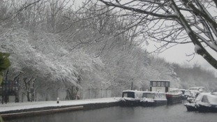 A snow drenched canal at Shepley Bridge in Marina Mirfield, West Yorkshire.