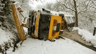 An upturned gritter in Wentnor, Shropshire.