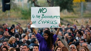 A protester in Cyprus