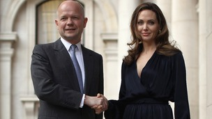 Actress Angelina Jolie with Foreign Secretary William Hagu