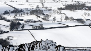 The scene above Glenarm in Co Antrim, the hill town hamlet which has been cut off for thee days due to snow drifts.