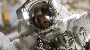 Astronaut Steve Bowen participates in the mission's second spacewalk