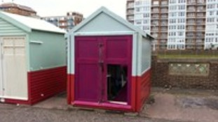 Damaged beach huts in Hove