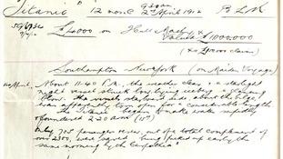 Titanic insurance document
