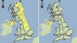 The Met Office has issued 'yellow' warnings for Tuesday (l) and Wednesday (r).