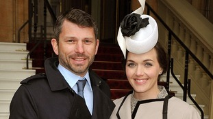 Olympic gold medal-winning cyclist Victoria Pendleton with her fiance Scott Gardner at Buckingham Palace.