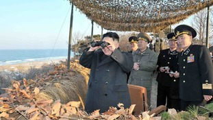 Kim Jong-un inspects a military training drill on the border with South Korea.