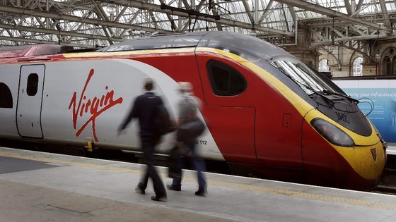Virgin train at Central Station in Glasgow