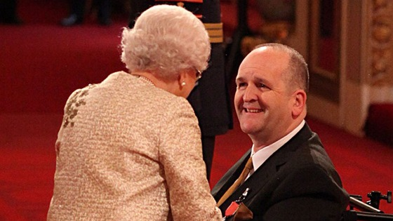 Paralympic Boccia player Nigel Murray receives an MBE.