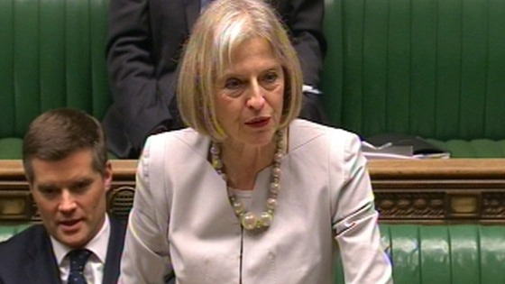 Home Secretary Theresa May addressing the House of Commons earlier.