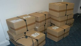 Boxes containing cocaine, seized by police in Cheltenham, smuggled in from Spain by the gang.