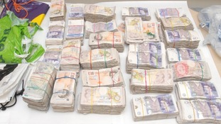 This cash was seized by police off the M62 in Leeds.