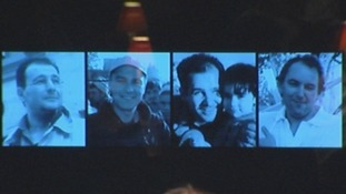 Pictures of the four men were displayed at St Bride's Church during the memorial