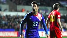 Croatia&#x27;s Eduardo celebrates after scoring the second goal against Wales