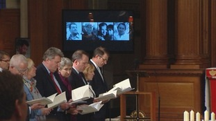 Lindsay Taylor, Lindsey Hilsum, martin Geissler and Bill Neely at the memorial service