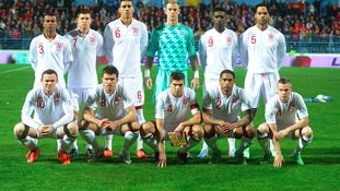 England team line up in Podgorica ahead of a thrilling end-to-end game.