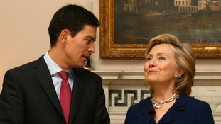 David Miliband as foreign secretary, meeting the then US Secretary of State Hillary Clinton