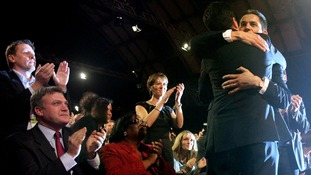 David Miliband hugs his brother Ed Miliband as he wins the Labour Party Leadership contest