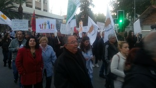 Another protest in Nicosia from the EU Commission House building to the Presidential Palace
